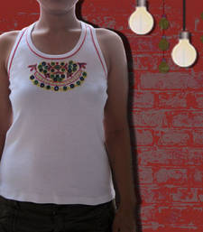 Buy white traditional back razor top party-top online