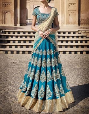 Buy Sky Blue Embroidered Silk Unstitched Lehenga Choli Online