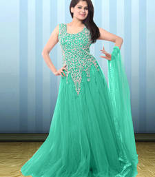 Buy Sea green net embroidered semi stitiched gown party-wear-gown online