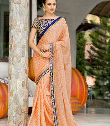Buy Orange embroidered chiffon saree with blouse chiffon-saree online
