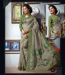 Buy Grey and Green embroidered cotton saree with blouse cotton-saree online