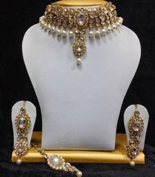 Buy Close Neck Style Kundan Jewelry in White and Pearls necklace-set online
