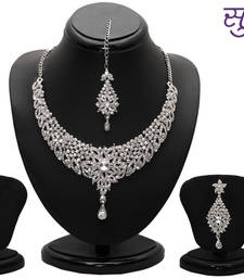 Buy Sukkhi Splendid Rhodium plated AD Stone Necklace Set necklace-set online