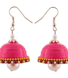 Buy Pink teracotta and dokra jhumkas terracotta-jewelry online