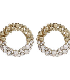 Buy Round Shape Gold with Half round diamond studded Earring stud online