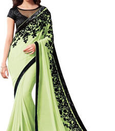 Buy green embroidred chiffon saree with blouse party-wear-saree online