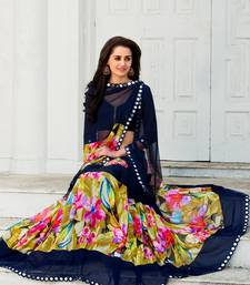 Beautiful Navy Blue Digital Print Designer Saree