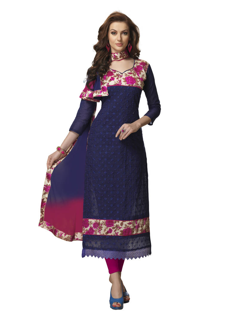 Buy navy blue embroidered chanderi bhagalpuri karachi