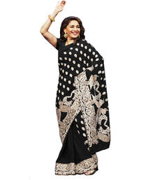 Buy black embroidred georgette saree with blouse madhuri-dixit-saree online