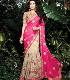 Buy pink and beige embroidery work  chiffon and net saree with net and flower print blouse  wedding-saree online