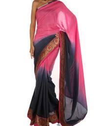 Buy Ombre Pink & Blue silk-saree online