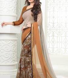 Buy White and orange printed chiffon saree with blouse chiffon-saree online