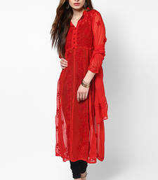 Buy Red plain faux georgette kurti kurtas-and-kurti online