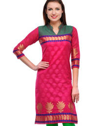 Buy Pink plain jacquard kurti kurtas-and-kurti online
