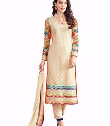 Buy Cream net embroidered semi stitched salwar with dupatta cotton-salwar-kameez online
