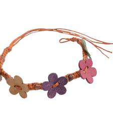 Buy Chocolate Brown Floral Wax Cord  Bracelet/ Wrist Band/ Friendship Band men-bracelet online