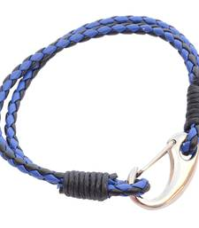 Buy Double Layered Royal Blue & Black  Braided Bracelet/Wrist Band For Men/ Boys men-bracelet online