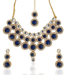 Buy Deep blue circles dazzling bridal necklace set b333b necklace-set online