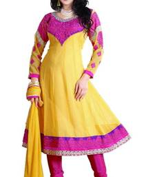 Buy Beautiful Pink & Yellow Georgette Embroidered Anarkali Suit Material D.No TV706 dress-material online