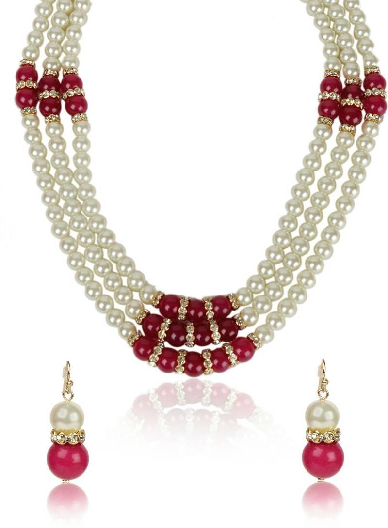 Buy Semi Precious Red Stone Crystal Beaded Necklace ...