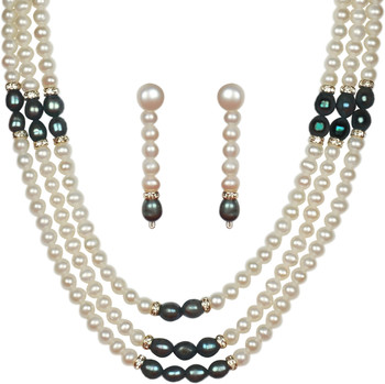 Buy Semi Precious Black Stone Crystal Beaded Necklace ...