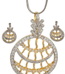 Buy PEACE Collection Zircon Studded Round Shimmer Pendant Set For Women Pendant online