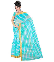Buy Blue printed cotton saree with blouse cotton-saree online