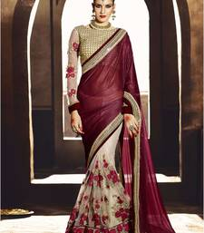 Buy Cream embroidered georgette fancy saree with blouse eid-saree online