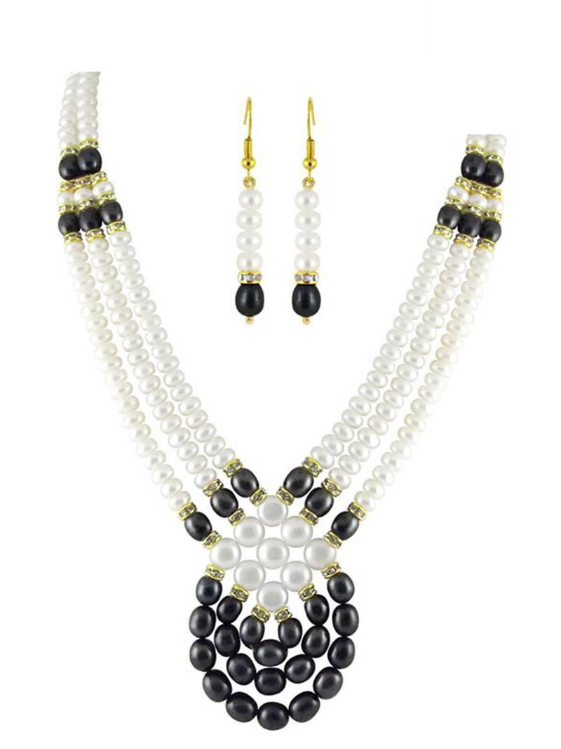 Buy String White Amp Black Pearl Necklace Set Online