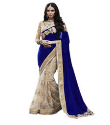 Buy Blue and Beige embroidered  Velvet and Net saree With Blouse wedding-saree online