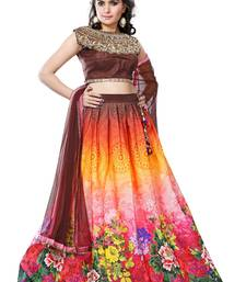 Multicolor american crepe printed unstitched lehenga choli shop online