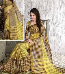 Yellow printed cotton saree With Blouse shop online