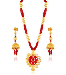 Buy Whimsical Gold plated kundan set necklace-set online