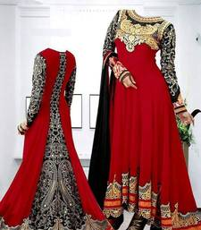 Buy Red georgette embroidered semi stitiched salwar with dupatta anarkali-salwar-kameez online