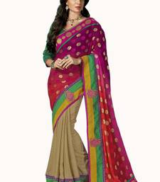 Buy cream embroidered jacquard saree With Blouse jacquard-saree online