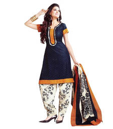 Buy Blue cream printed unstitched salwar with dupatta patiala-salwar online