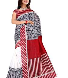 Buy Multicolor printed cotton silk saree with blouse below-400 online