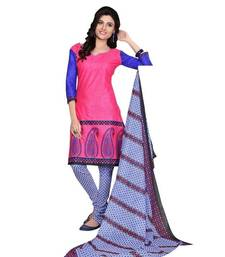 Buy Pink printed cotton unstitched salwar with dupatta dress-material online