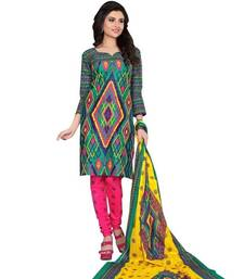 Buy Multicolour printed cotton unstitched salwar with dupatta multicolor-salwar-kameez online