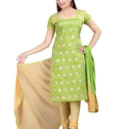 Buy Green embroidered chandheri unstitched salwar with dupatta dress-material online