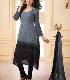 Buy Grey embroidered cotton unstitched salwar with dupatta cotton-salwar-kameez online