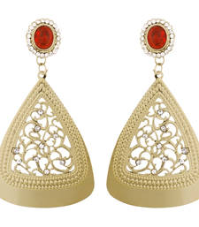 Buy Filigree Cocktail Red American Diamond 14K Gold Plated Dangling Earring for Women danglers-drop online