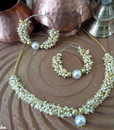 Buy White_Ghungroo_Set_Bali_Pearl_Ball Necklace online