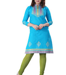 Buy Blue cotton plain kurti plus-size-kurti online