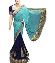 Buy Blue embroidered jacquard saree with blouse jacquard-saree online