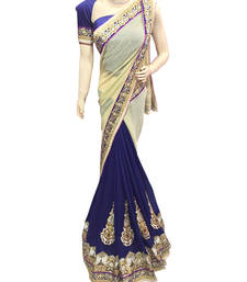Buy Purple embroidered jacquard saree with blouse jacquard-saree online