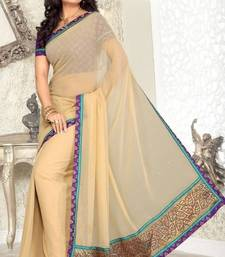 Buy Beige Faux Georgette Saree with Blouse party-wear-saree online