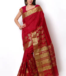 Buy red woven dupion silk saree With Blouse dupion-saree online