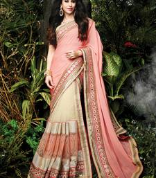 Buy light pink embroidered silk saree With Blouse party-wear-saree online
