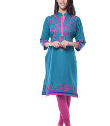 Buy Turquiose Cotton Block Print kurti cotton-kurti online